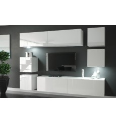 Ensemble meuble TV NEXT 65 AN65-HG-W2 blanc brillant 218 cm