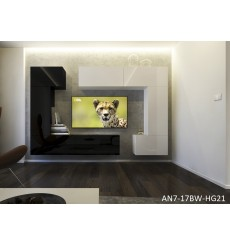 Ensemble meuble TV NEXT 7 AN7-17BW-HG21-1A noir/blanc brillant 256 cm