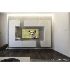 Ensemble meuble TV NEXT 7 AN7-17W-HG23-1A blanc brillant 256 cm