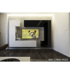 Ensemble meuble TV NEXT 7 AN7-17BW-HG22-1A blanc/noir brillant 256 cm
