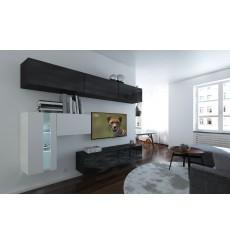 Ensemble meuble TV NEXT 81 AN81-17BW-HG21-1A noir/blanc brillant 249 cm