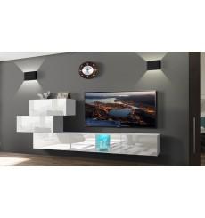 Ensemble meuble TV NEXT 84 AN84-17W-HG21-1A blanc brillant 214 cm