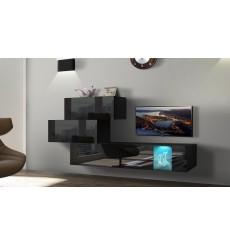 Ensemble meuble TV NEXT 84 AN84-17B-HG20-1A noir brillant 214 cm