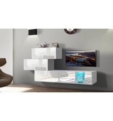 Ensemble meuble TV NEXT 84 AN84-17W-HG21-1B blanc brillant 274 cm