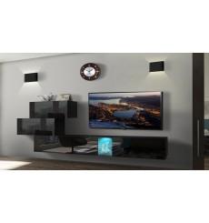 Ensemble meuble TV NEXT 84 AN84-17B-HG20-1B noir brillant 274 cm
