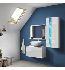 Meuble salle de bain ALIUS 34 - A34-HG-W-2 blanc brillant