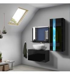 Meuble salle de bain ALIUS 34 - A34-HG-B-1 noir brillant