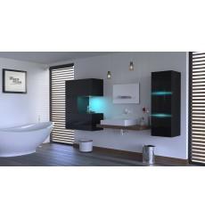 Meuble salle de bain ALIUS 48 - A48-HG-B-1 noir brillant