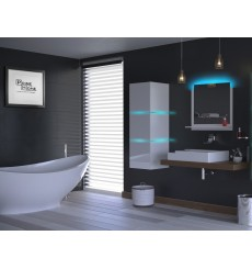 Meuble salle de bain ALIUS 13 - A13-HG-W-2 blanc brillant