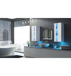 Meuble salle de bain ALIUS 41 - A41-HG-W-2 blanc brillant