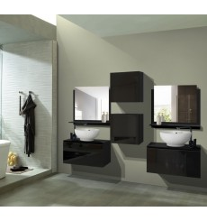 Meuble salle de bain ALIUS 43 - A43-HG-B-1 noir brillant