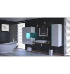 Meuble salle de bain ALIUS 49 - A49-HG-W-2 blanc brillant