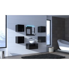 Meuble salle de bain ALIUS 25 - A25-HG-B-1 noir brillant