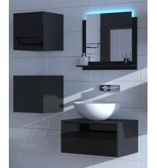 Meuble salle de bain ALIUS 26 - A26-HG-B-1 noir brillant