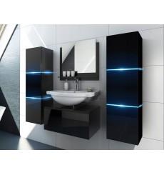 Meuble salle de bain ALIUS 2 - A2-HG-B-1 noir brillant