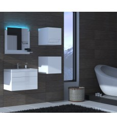 Meuble salle de bain ALIUS 21 - A21-HG-W-2 blanc brillant