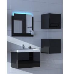 Meuble salle de bain ALIUS 21 - A21-HG-B-1 noir brillant