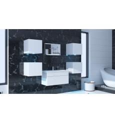 Meuble salle de bain ALIUS 22 - A22-HG-W-2 blanc brillant