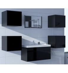 Meuble salle de bain ALIUS 22 - A22-HG-B-1 noir brillant