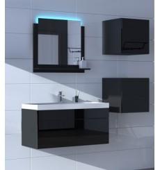 Meuble salle de bain ALIUS 23 - A23-HG-B-1 noir brillant