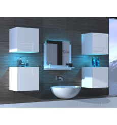 Meuble salle de bain ALIUS 24 - A24-HG-W-2 blanc brillant