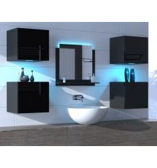 Meuble salle de bain ALIUS 24 - A24-HG-B-1 noir brillant