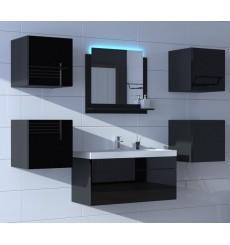 Meuble salle de bain ALIUS 27 - A27-HG-B-1 noir brillant