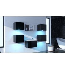 Meuble salle de bain ALIUS 29 - A29-HG-B-1 noir brillant