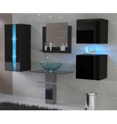 Meuble salle de bain ALIUS 33 - A33-HG-B-1 noir brillant