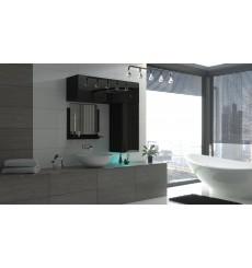 Meuble salle de bain ALIUS 42 - A42-HG-B-1 noir brillant