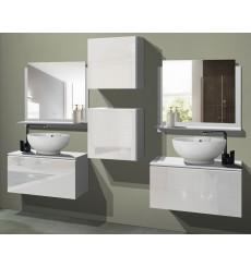 Meuble salle de bain ALIUS 43 - A43-HG-W-2 blanc brillant