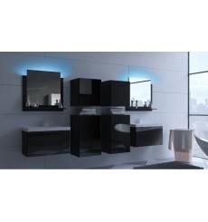 Meuble salle de bain ALIUS 38 - A38-HG-B-1 noir brillant
