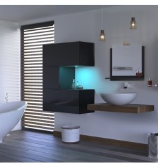 Meuble salle de bain ALIUS 45 - A45-HG-B-1 noir brillant