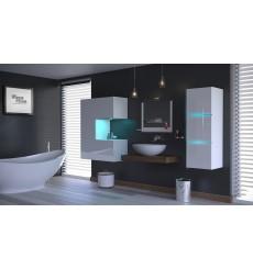 Meuble salle de bain ALIUS 47 - A47-HG-W-2 blanc brillant