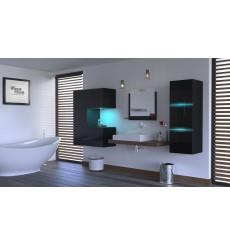 Meuble salle de bain ALIUS 47 - A47-HG-B-1 noir brillant
