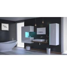 Meuble salle de bain ALIUS 50 - A50-HG-W-2 blanc brillant
