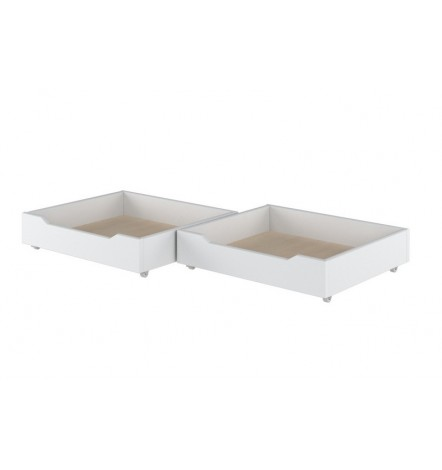 Lot de 2 tiroirs de lit MAGGIE blancs