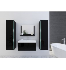 Meuble salle de bain DREAM II 80 DR2-17B-HG20-80 noir brillant