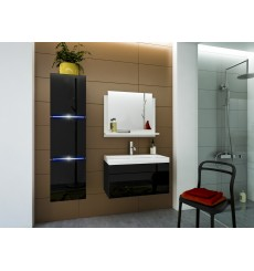 Meuble salle de bain LUNA I 60 LU1-17B-HG20-60 noir brillant