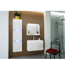 Meuble salle de bain LUNA I 80 LU1-17W-HG21-80U blanc brillant avec vasque