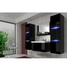 Meuble salle de bain LUNA II 80 LU2-17B-HG20-80 noir brillant