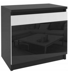 Table de chevet ALICIA 44 x 48 cm noir et blanc