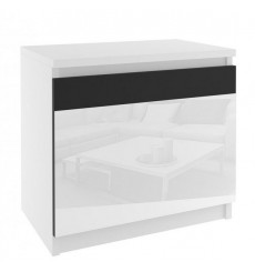 Table de chevet ALICIA 44 x 48 cm blanc et noir