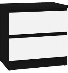 Table de chevet à tiroir ROSALIE 40x30 cm blanc et noir