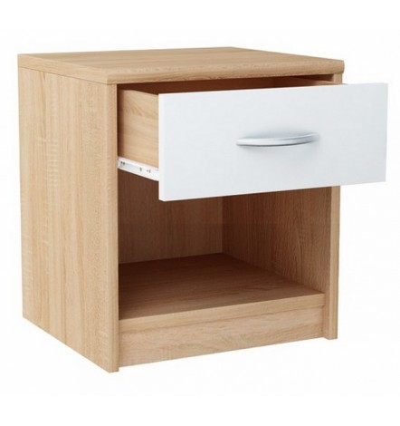 Table de chevet WENDY 45x39 cm en blanc et chêne