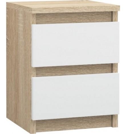 Table de chevet à tiroir LEA 40x30 cm en blanc et chêne