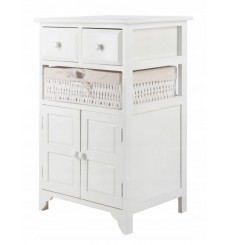 Table de chevet Julianne en bois 46x70 cm en blanc