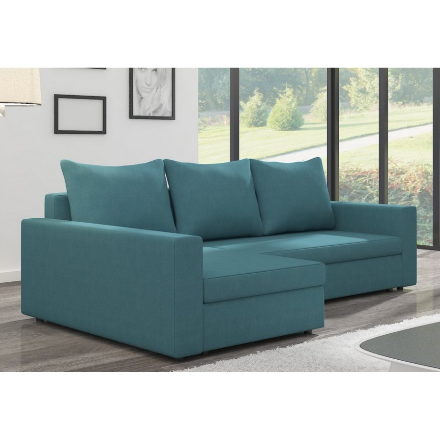 Canapé d'angle convertible MARLO bleu 232 x 140 cm