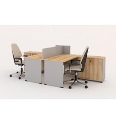 Set 2 escritorios y cajas DUNCAN claro