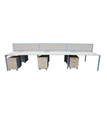 Bureaux Bench multipostions LOGAN + caissons